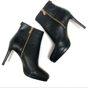 MICHAEL KORS Black Leather Side Zip Ankle Bootie